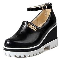 RAZAMAZA レディース ファッション パンプス ウェッジソール ストラップ シューズ 33AS Black