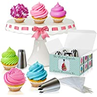 The Perfect Cupcake By Love2bake -Cupcake Decorating Kit- Large Stainless Steel Tips & Icing Bags
