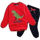BomDeals Cute Cartoon Dinosaur Printed Baby Boys Long Sleeve Tops and Pants Outfits