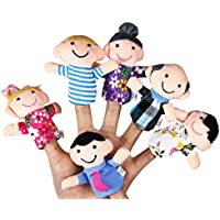 Family Finger Puppets Plush布人形ベビーキッズEducational HandストーリーPropおもちゃゲーム6pcs