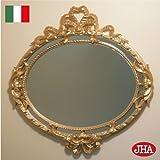 イタリア製 JHAアンティーク風ミラー エレガンス・ リボン柄(ゴールド)楕円W510×H520 IT-10 壁掛け鏡 ウォールミラー オーバル ロココ 姫ミラー