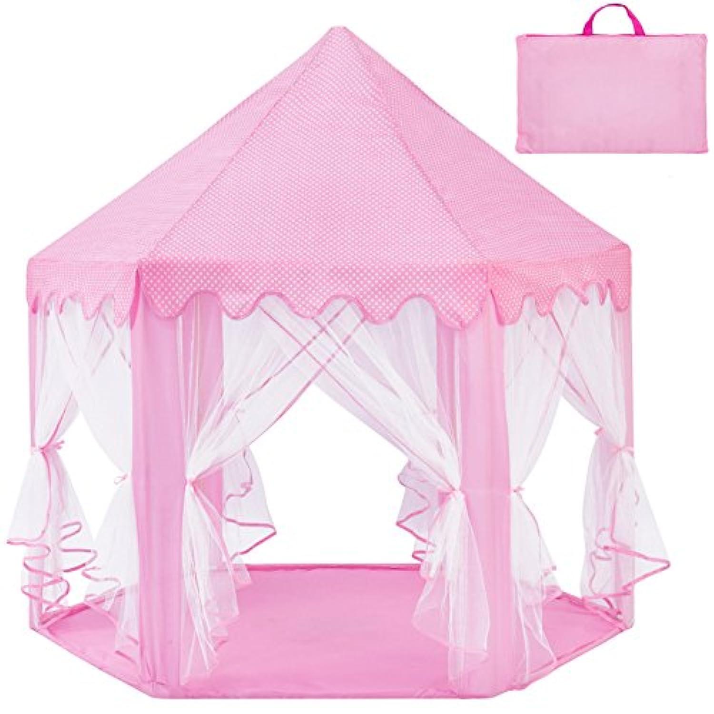 edxtechインドア/アウトドア折りたたみデラックスポップアップHexagon Princess Castle Play Tentピンク