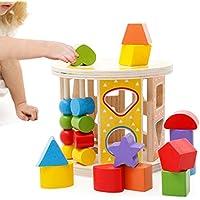 ZUINIUBI Early木製カラー形状認識玩具のビルディングブロック教育レンガ