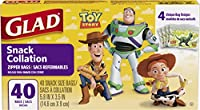 Glad Food Storage Bags, Snack Size Zipper Bags, Toy Story, 40 Count by Glad Food Storage