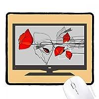 赤い花の抽象的なアートライン塗装ヒナゲシ マウスパッド・ノンスリップゴムパッドのゲーム事務所