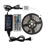 WenTop LEDテープライトSMD 5050両面テープ5 m 300ストリップライトRGB 60leds / m 44 Kコントローラと12 V電源リモートコントロールは、テレビ、天井据え付け品、PC、キッチンに使用される明るい光を導いた