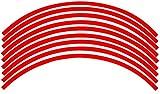 バイク 17インチ 対応 ホイール リムステッカー リムラインテープ (赤, 6.5㎜幅)