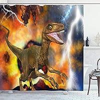 恐竜のシャワーカーテン、アロサウルスFragilisの図と劇的な大惨事破壊背景、フック付きカーキ色の布のバスルームの装飾セットオレンジカーキ 180X180 CM