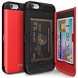 iPhone6s ケース [TORU] iPhone6 ケース 手帳型 [衝撃吸収][カードホルダー][スタンド][ミラー] - おしゃれな アイフォン6/6s用 耐衝撃TPUハードカバー [レッド]