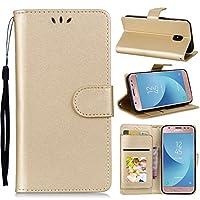 Samsung Galaxy J3 (2017) J330 (European Version) Case Flip Cover パウチ, LoveBee Case for Samsung Galaxy J3 (2017) J330 (European Version) - Golden