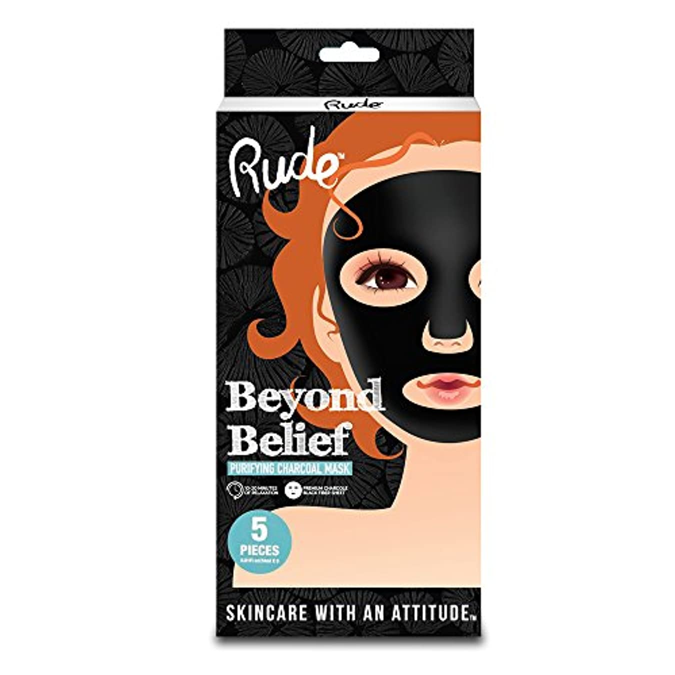 銀自分のキャンバスRUDE Beyond Belief Purifying Charcoal Mask 5 Piece Pack (並行輸入品)