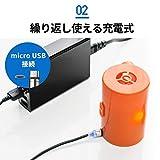 サンワダイレクト 電動エアダスター 充電式 コンパクト ノズル付き ガス不使用 逆さ使用対応 200-CD035 画像