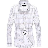 Ehame メンズ 春 ボタンダウンシャツ ブロード ストライプ チェック ギンガム 長袖 シャツ ネルシャツ 大きいサイズ ホワイト3XL