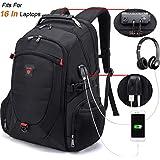 Tzowla Travel Laptop Backpack, Anti-Theft Water Resistant Business Backpack, TSA Lock & USB Charging Port, TSA Friendly Computer Backpack, Men Women College School Bag, Fit 16 Inch Laptops (Black)