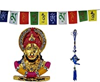 Odishabazaar Hanuman車Idol for車ダッシュボード供養供養、装飾の+ガネーシャ像Hanging