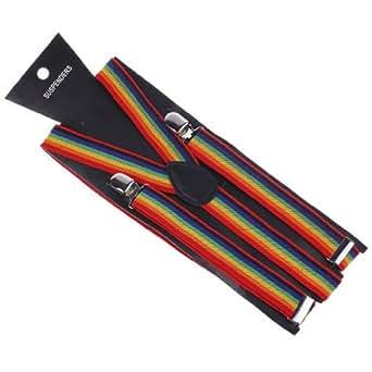 Eozy13色選択られ 無地 Y形 サスペンダー (大きいサイズ調節可能 2.5*100cm)中国製・ 男女兼用ユニセックス サスペンダー (11rainbow)