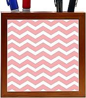 Rikki Knight Chunky Chevron Light Pink Zig Zag Design 5-Inch Tile Wooden Tile Pen Holder (RK-PH44684) [並行輸入品]
