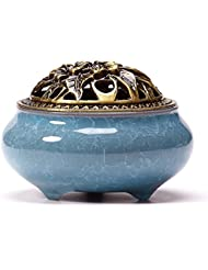UoonハンドメイドCone Incense Burner with真鍮Calabashホルダーfor Stick Incense and Coin Incense UOON-BL002