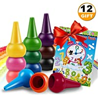 joyfan幼児用クレヨン指クレヨン12-colors with Free Coloring Books
