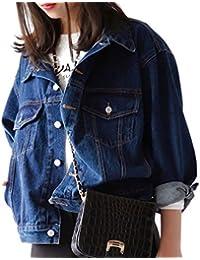 Veamor デニム ジャケット レディース 長袖 ジージャン ゆったり ミディアム 羽織る オーバー コート ライダースジャケット アウター