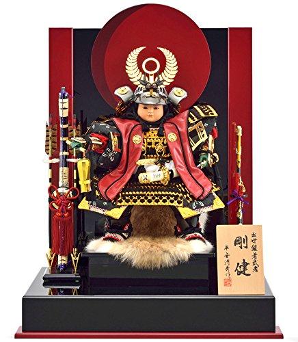 五月人形 徳川家康 子供大将飾り 平飾り 衝立飾り 平安清秀作 徳川大将 剛健 8号 h305-mm-053