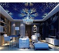 Weaeo 天井のための高品質の3D壁紙をカスタマイズする青い明るい色の螺旋形の光3D天井の壁画リビングルームの壁紙-280X200Cm