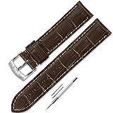 CHIMAERA 18mm 19mm 20mm 21mm 22mm イタリア 牛革 本革 時計バンド ストラップ 腕時計ベルト シルバー尾錠 簡単交換 (6色 ) ダークブラウン/乳白線