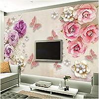 Xbwy 3D壁紙レトロなヨーロッパスタイルのジュエリーフラワーバタフライ壁画リビングルームTvウェディングハウスロマンチック-150X120Cm
