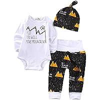 Aliven Boys' 3PCS Set Newborn Clothes Long Sleeve Bodysuit Pants Hat Outfit