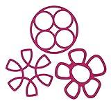 Youchan(ヨウチャン) キッチン 鍋しき なべ敷き花びら形 ポットパッド 鍋 耐熱冷 カラフル 3種 シリコン 雑貨 便利 おしゃれ 折りたたみ コンパクト 雑貨 デザイン キッチンアクセサリー 小物 台所用品 3種セット (ピンク)