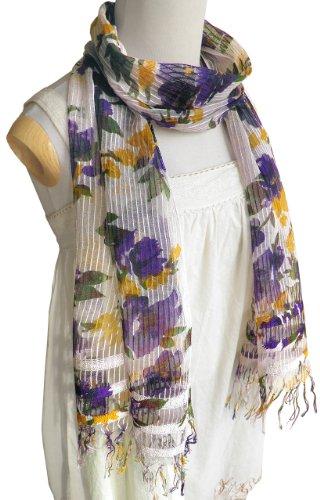 スカーフ レディース シルク コットン フラワー柄 [冷え防止 紫外線対策 ロングスカーフ] 織り柄 花柄 160×37cm (パープル系)