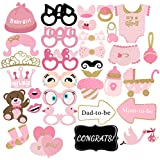 (2) - Baby Shower Decorations, 33Pcs Pink and Gold Girls Baby Shower Photo Booth Props Party Favours Supplies