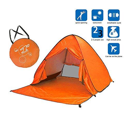 (ディオスン)Diosn ワンタッチテント ビーチテント 2-3人用 日よけテント サンシェードテント UVカット アウトドア キャンプ 165cm幅 (オレンジ-フルクローズ)