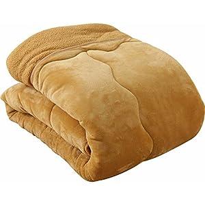 アイリスプラザ 毛布布団 fondan 超ボリューム毛布 フランネル×シープ調ボア 3層構造 綿入り 洗える シングル キャメル