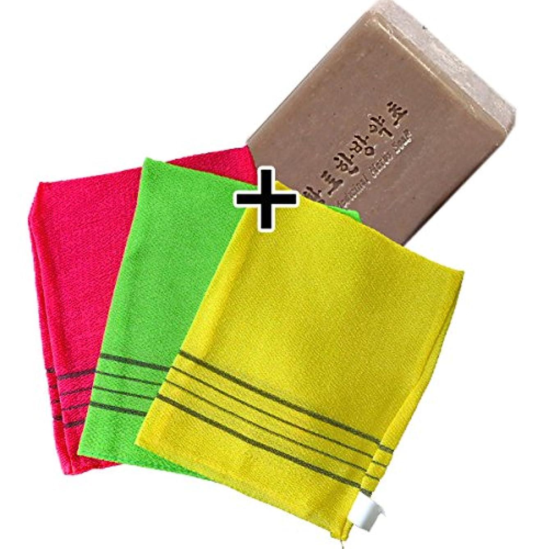 収穫レクリエーション助言(韓国ブランド) あかすりセット(韓国あかすり3枚セット+あかすり石鹸1個)