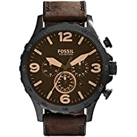 Fossil Men's JR1487 Nate Stainless Steel Watch with Brown Leather Band