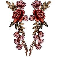高級感あるデザイン 2枚 スパンコールモチーフ ボタンの花 刺繍アイロンアップリケワッペン (赤)