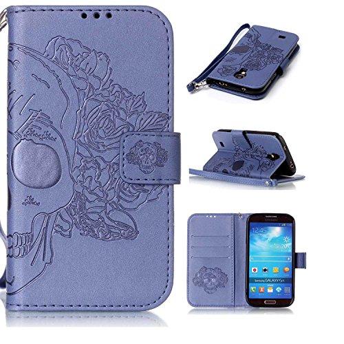 Samsung Galaxy S4 対応 手帳型 ケース CUSKING おしゃれ エンボス かわいい 無地 全面保護 ケース ギャラクシ S4 手帳ケース 衝撃吸収 耐衝撃 ストラップ付き マグネット式 フリップ 財布型 カード - ブルー 髑髏柄