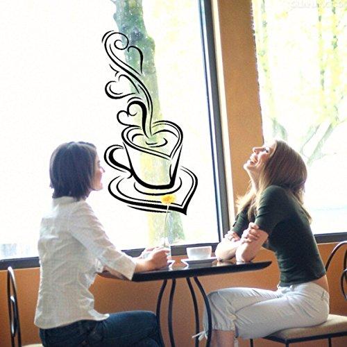カフェ ウォール ステッカー ハート形コーヒーカップ ウォールステッカー wall sticker ウォールペーパー 壁紙 ウォールシール 29*57cm