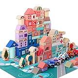 木製 積み木 天然木 ブロック 人気 おもちゃ カラフル つみき 幾何学認知 バランス ゲーム 赤ちゃんおもちゃ 都市建築