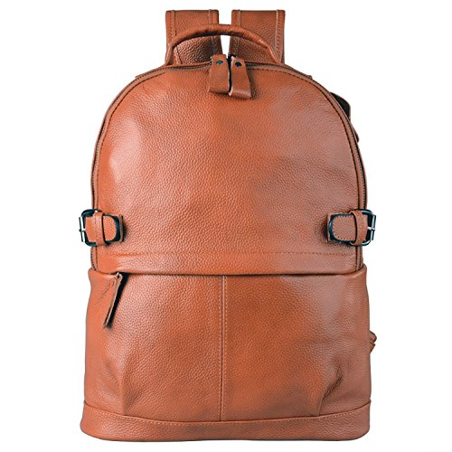 AB Earth Womens Cow Leather Casual Daily Backpack Handbag M752 (M752Brown) [並行輸入品]