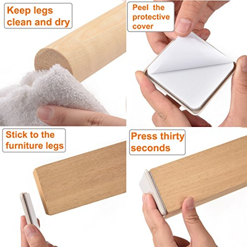 16 Pack Self-Stick Furniture Sliders 2-1/2 Heavy Duty Adhesive Furniture Movers for Carpet