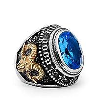 Adisaer メンズ 指輪 ステレンス316L パンク風 クラシック ストーン リング ブルー 恋人 バレンタインデー 人気贈り物 Size: 28