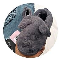 [硝子フェアリー-スリッパ] 秋 冬 かわいい長い耳ウサギ カップル ルートホームコットンスリッパコットンシューズ,ブラウン,240は34-35で小さい
