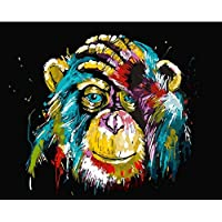 Frameless DIY Painting By Numbers Animals Orangutan Decorative Canvas Painting Coloring