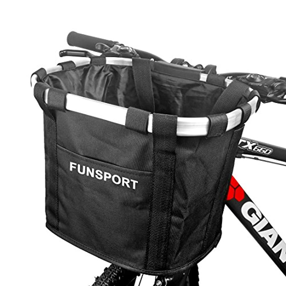 救出初心者レンジFUNSPORT 自転車カゴ 前 バスケット 折り畳み 脱着 サイクリング バッグ 小径車に最適