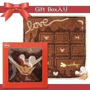 ギフトボックス(箱入り) ミニタオルハンカチ1枚セット 「スイートテイスト・ブラウンチョコレート」 LOVE ミッキーマウス ディズニー