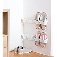 (White) - MEOLY Set of 4pcs Home Shoe Shelf Plastic Wall Mounted Shoes Rack for Entryway Over the Door Shoe Hangers Organiser Hanging Shoe Storage Racks(White)