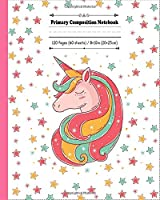 Primary Composition Notebook: Unicorn with stars in colors journal with draw and write space for little princess girl and boys. Dotted midline, half blank and with  picture space book,  grades k-2 story paper journal | 120 Story Pages | 8 x 10 inch