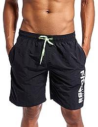 メンズ 速乾性通気性のビーチパンツ マルチカラー サマーサーフパンツ (色 : ブラック, サイズ : XL)